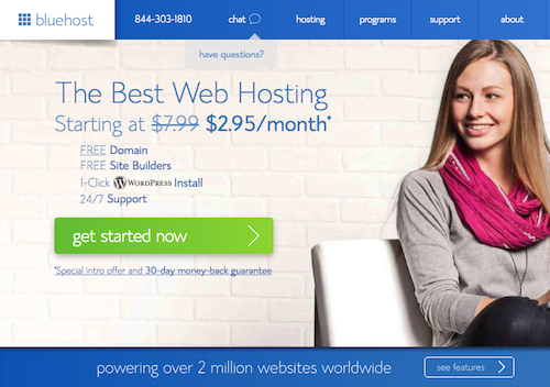 use bluehost to host your new blog